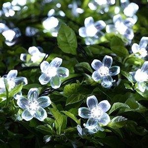 $4.79 Solar Christmas String Lights,easyDecor 50 LED Flower 23ft White 8Mode Waterproof Decorative Blossom Light