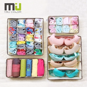 $10.99 MIU COLOR Collapsible Storage Boxes Bra Underwear Closet Organizer Drawer Divider 4 Set