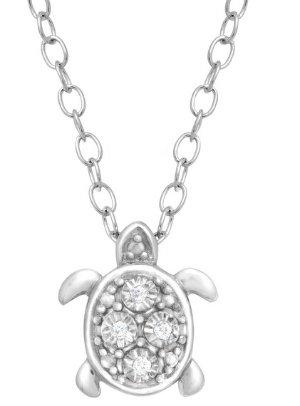 $24Teeny Tiny Turtle Pendant with Diamonds