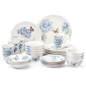$116.97(原价$406)Lenox 蝴蝶花草图案餐具28件套