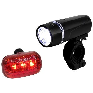 $7.99BV Bicycle Light Set Super Bright 5 LED Headlight, 3 LED Taillight, Quick-Release