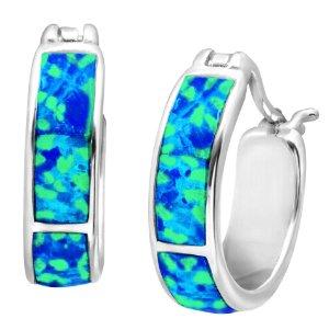 $24Blue Opal Inlay Mini Hoop Earrings
