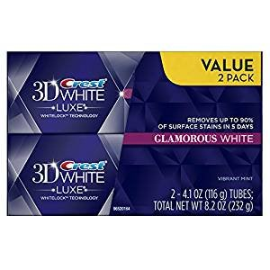 $4 Crest 3D White Luxe Glamorous White, Vibrant Mint Flavor Whitening Toothpaste - 4.1 Oz Ea, Twin pack