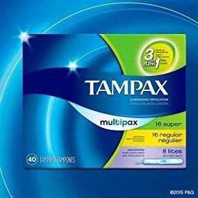 $16.70 (原价$25.49)Tampax 超强吸收卫生棉条混合装 共120条 无香味