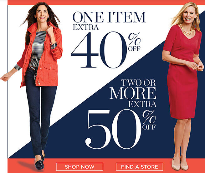 40% Off One Item50% Off Two or More Markdowns @ Talbots