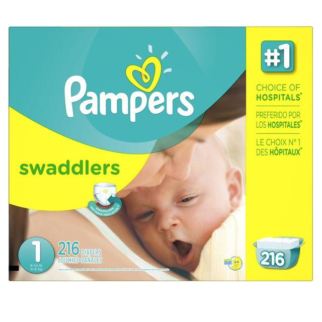 $42Pampers Swaddlers Diapers Size 1 to 5 Economy Pack + Super Economy Packs