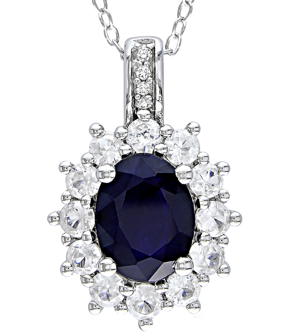 $324 Carat Blue and White Sapphire & Diamond Sterling Sliver Pendant w/Chain
