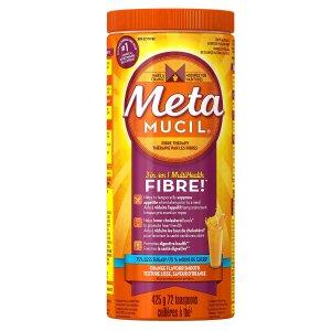 $12.12(原价$15.99)清肠排毒!Metamucil 吸油纤维素膳食纤维粉 香橙味 72次 425g