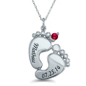 Dealmoon Exclusive! $85Personalized Mother's Birthstone Baby Feet Pendant in Sterling Silver