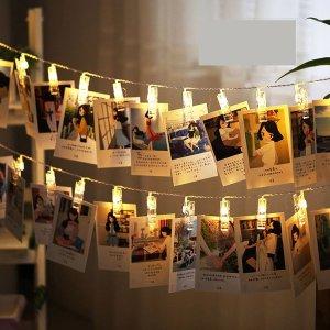 $13.99 (原价$17.99)闪购:Chanvi 浪漫照片墙,LED 灯串夹 2.2米20个