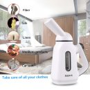 $9.99 MOFIR Mini Travel Garment Steamer & Clothes Steamer 120ml   Portable, Handheld & Lightweight Lint & Wrinkle Remover with Continuous Steaming   For Linen, Shirts, Bedding, Suits, Curtains, & More …
