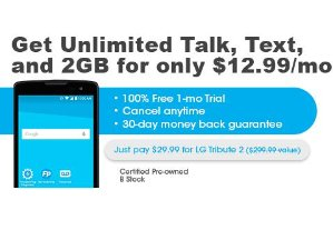 $29.99+每月$12.99 首月免费LG Tribute 2 官翻 + 无限量通话+短信+2GB流量