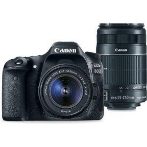 $552.49EOS 80D EF-S 18-55mm +55-250mm Refurbished