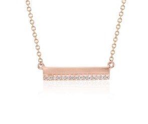 Dealmoon Exclusive! Extra 10% offMini Matte Diamond Bar Necklace in 14k Yellow Gold and 14K Rose Gold