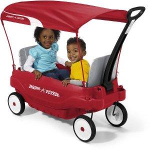 $99 (原价$129)Radio Flyer 豪华带顶蓬双人儿童拖车
