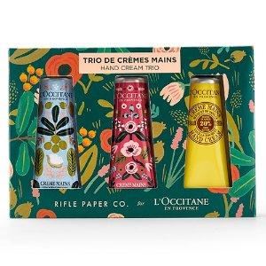$29 + $10 Off $40L'Occitane x Rifle Paper Co. limited edition Shea Butter Hand Creams Trio