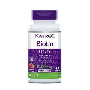 $3.71 Natrol Biotin Fast Dissolve Tablets, Strawberry flavor, 10,000mcg, 60 Count