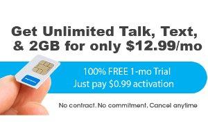 $0.99 + 包邮FreedomPop 1月 无限量通话+短信+2GB流量 试用