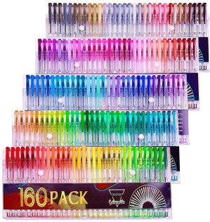 $16Gelmushta Gel Pens 160 Unique Colors (No Duplicates) Set for Adult Coloring Books Drawing with Case