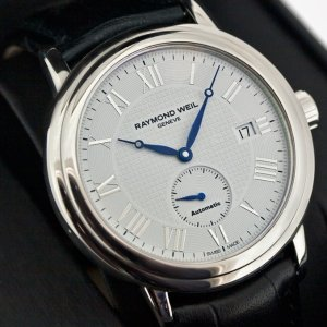 Last Day: $455RAYMOND WEIL Maestro Automatic Small Seconds Leather Men's Watch No. 2838-STC-00308