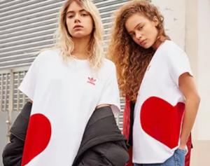 $70 塑料姐妹花必收Adidas originals 情人节限定版爱心T恤热卖