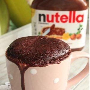 One Fork and Microwaving 90 SecendsNutella Chocolate Mug Cake