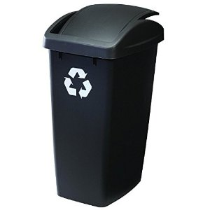 $9Rubbermaid Swing N' Toss Swing-Top Wastebasket Recycle Bin, 12.5-Gallon, Cashmere