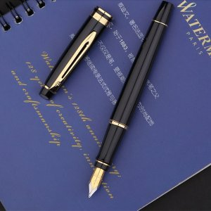 $53Prismacolor Waterman Expert Black with Golden Trim, Fountain Pen with Medium nib and Blue ink (S0951660)