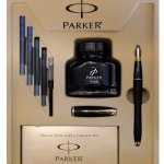 Parker Urban Fountain Pen, Medium Point, Black with Gold Trim Kit with 4 Ink Cartridges