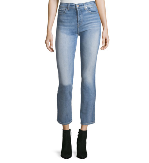 $497 For All Mankind Edie High-Rise Ankle Straight-Leg Jeans, Vintage Azure