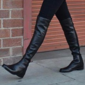$399 Stuart Weitzman 5050 Leather Over-The-Knee Boots