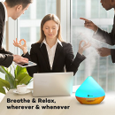 $19 TaoTronics 300ml Aromatherapy Diffuser with Wood Grain, Zen Style, Cool Mist and 7 Colors